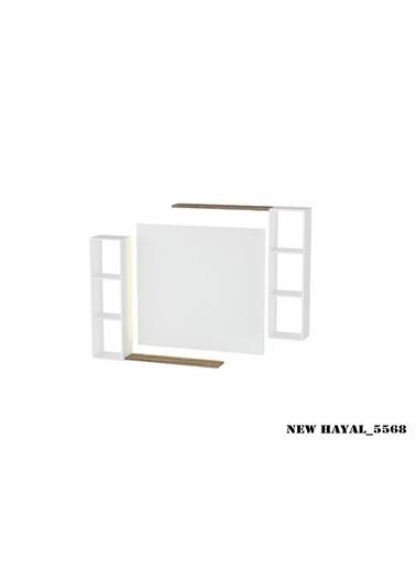 Sanal Mobilya Hayal 5568 Tv Ünitesi Leon Ceviz/Parlak Beyaz Beyaz